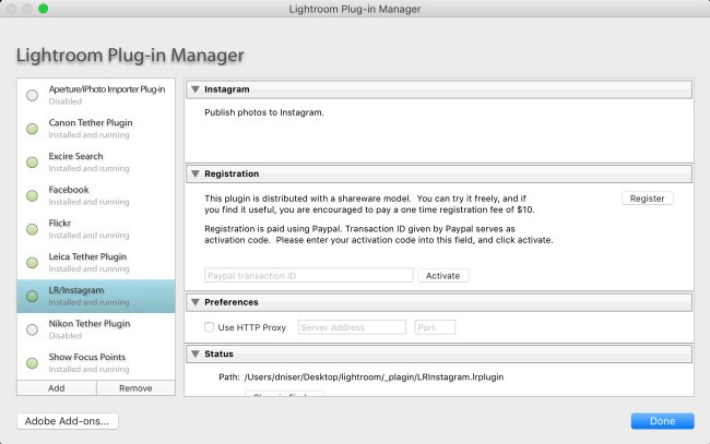 Интерфейс Lightroom Plug-in Manager и LR/Instagram